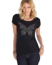 2014 Give Hope Butterfly Embellished Black Tee