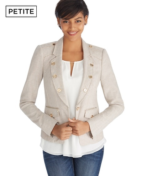 Petite Herringbone Raw Edged Day Blazer