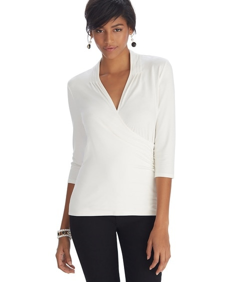 3/4 Sleeve Surplice Ruched Top