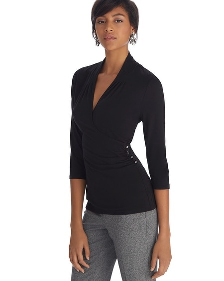 3/4 Sleeve Surplice Ruched Black Top