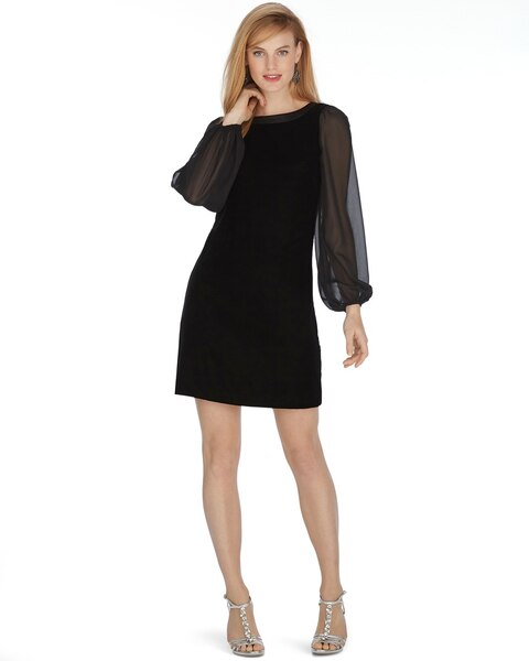 Black Chiffon Dress with Sleeves