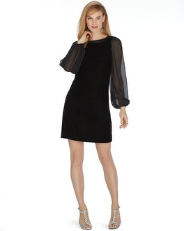 Long Sleeve Velvet Chiffon Shift Dress - WHBM