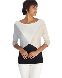 Dolman Sleeve Colorblock Lurex Pullover