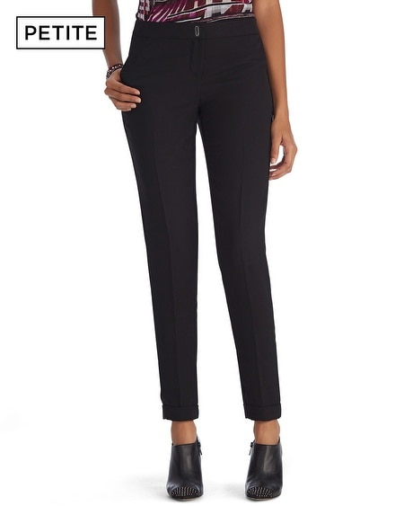 Petite Crepe Cuffed Black Ankle Pant