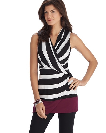 Sleeveless Stripe Surplice Tunic Top