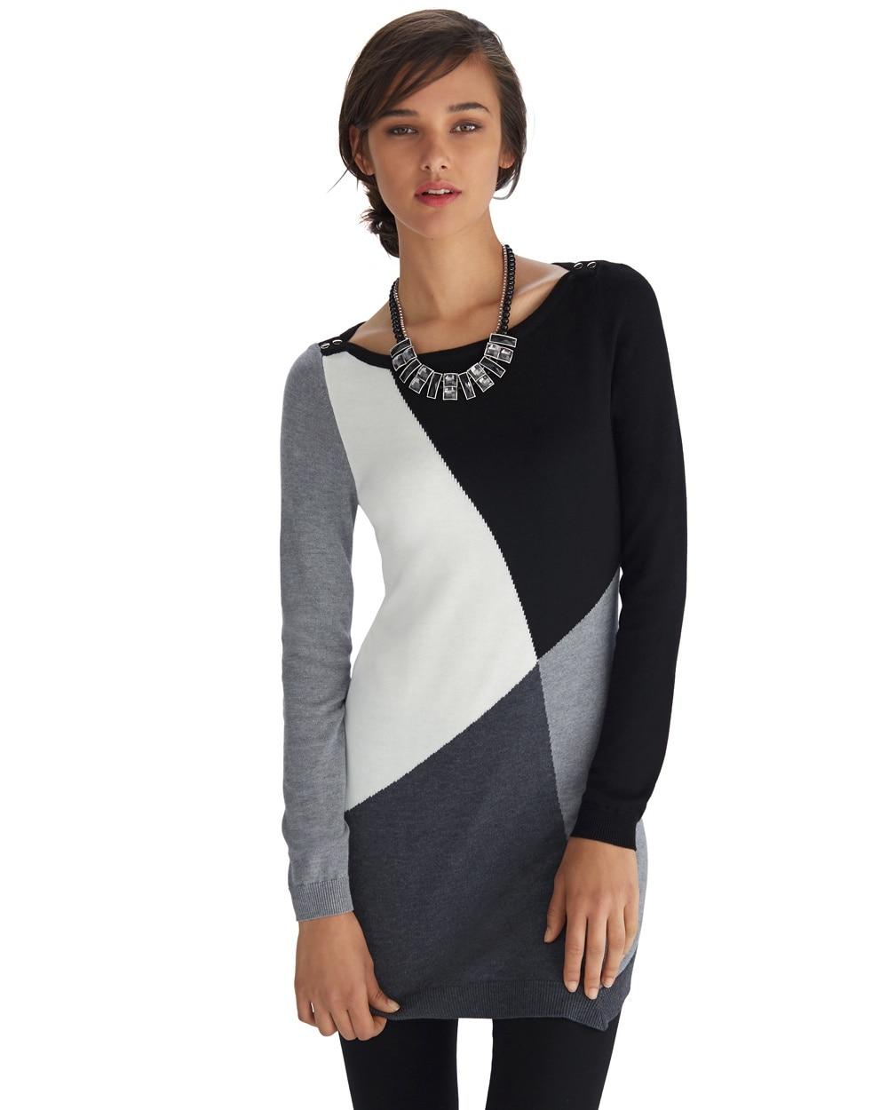 Long Sleeve Colorblock Tunic Sweater - WHBM
