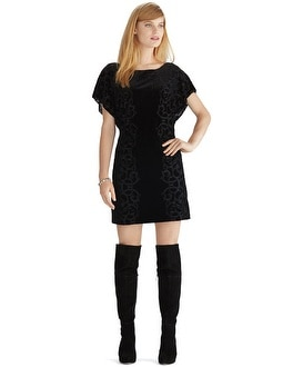 Flutter Sleeve Velvet Blouson Black Dress