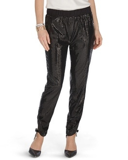 Sequin Black Tapered Pants