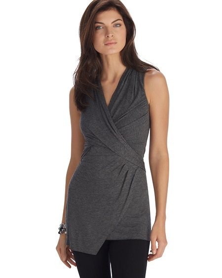 Sleeveless Drape Asymmetrical Tunic Top