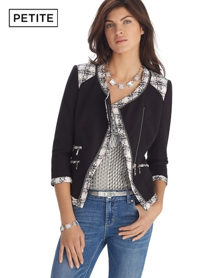 Petite Tweed Trim Knit Jacket