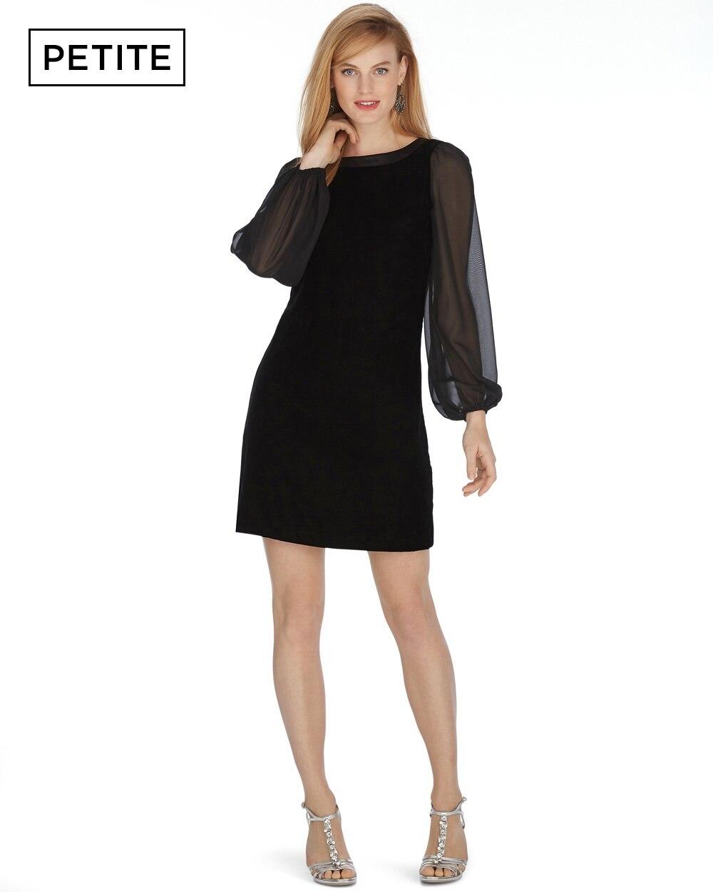 Petite Long Sleeve Velvet Chiffon Shift Dress - White House Black ...