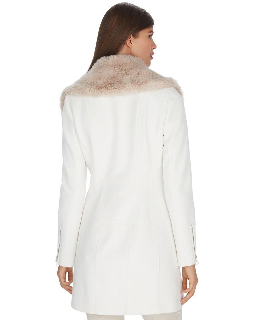 Long Fur Collar Ecru Motorycle Coat - White House Black Market