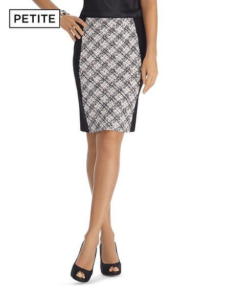 Petite Ponte Tweed Pencil Skirt