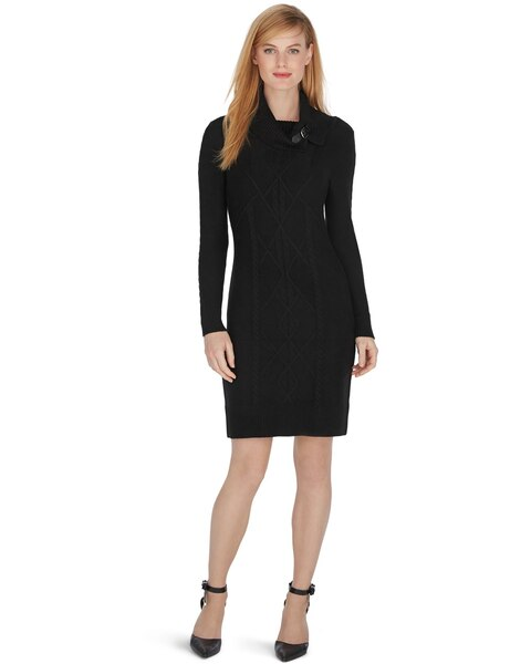 Long Sleeve Cowl Neck Cable Sweater Dress