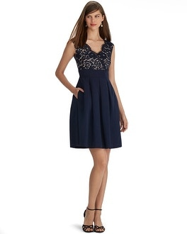 Sleeveless V-Neck Lace Faille Dress