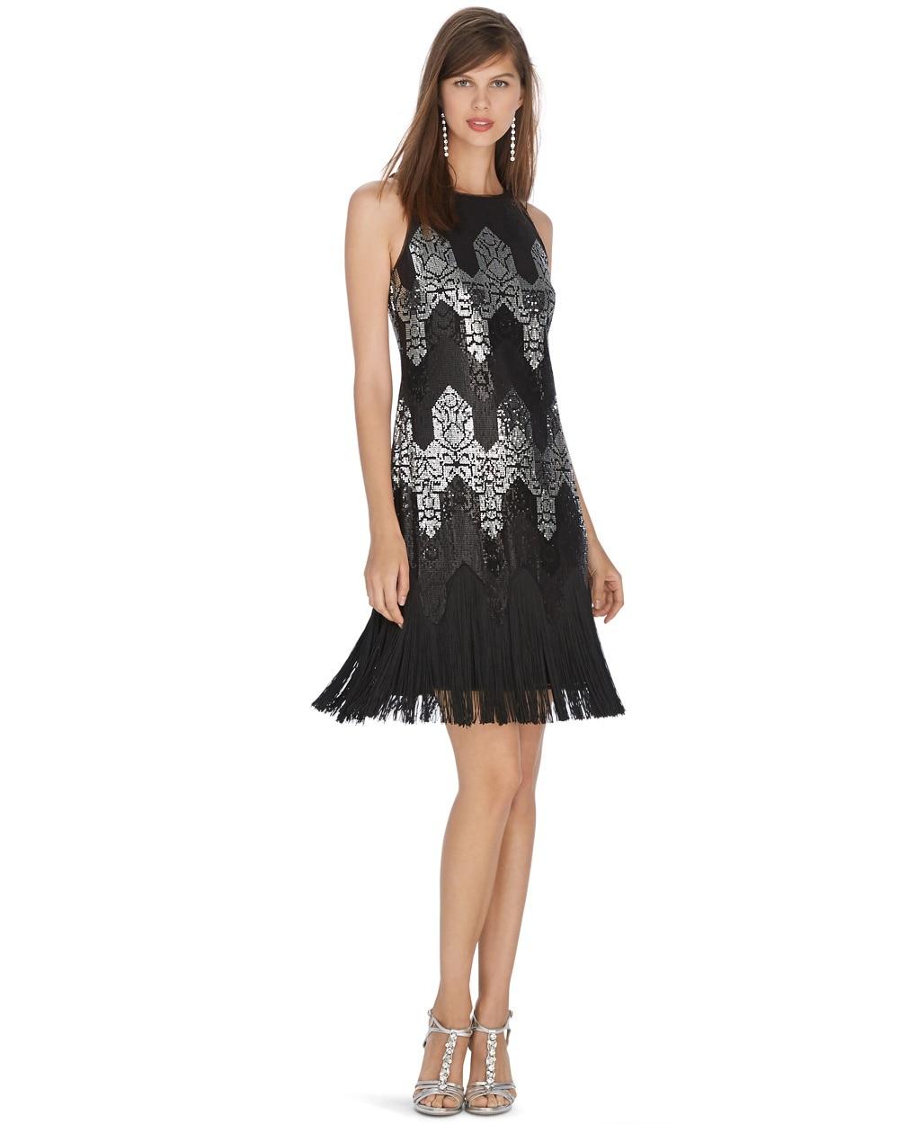 Sleeveless Sequin Fringe Shift Dress White House Black Market