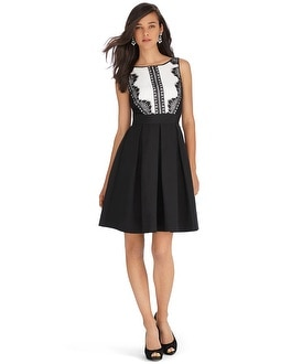 Sleeveless Tuxedo Lace Fit and Flare Dress - White House Black Market