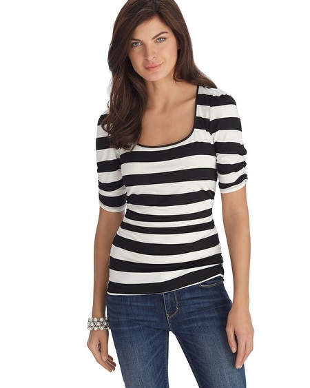 Black and White Stripe Ruched Sleeve Tee