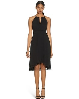 Sleeveless Fit and Flare Soft Wrap Black Dress