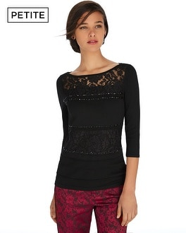Petite 3/4 Sleeve Embellished Lace Black Pullover