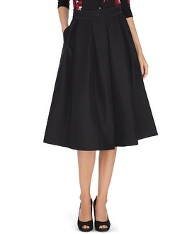 Full Taffeta Black Midi Skirt - White House Black Market