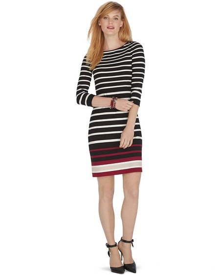 3/4 Sleeve Stripe Chemise Dress