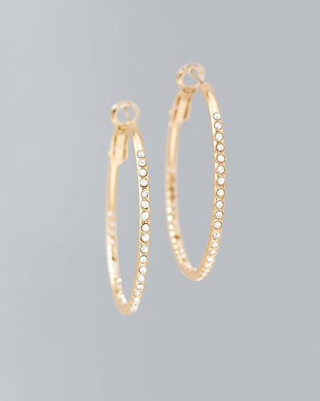 Crystal Double Pave Hoop Earrings