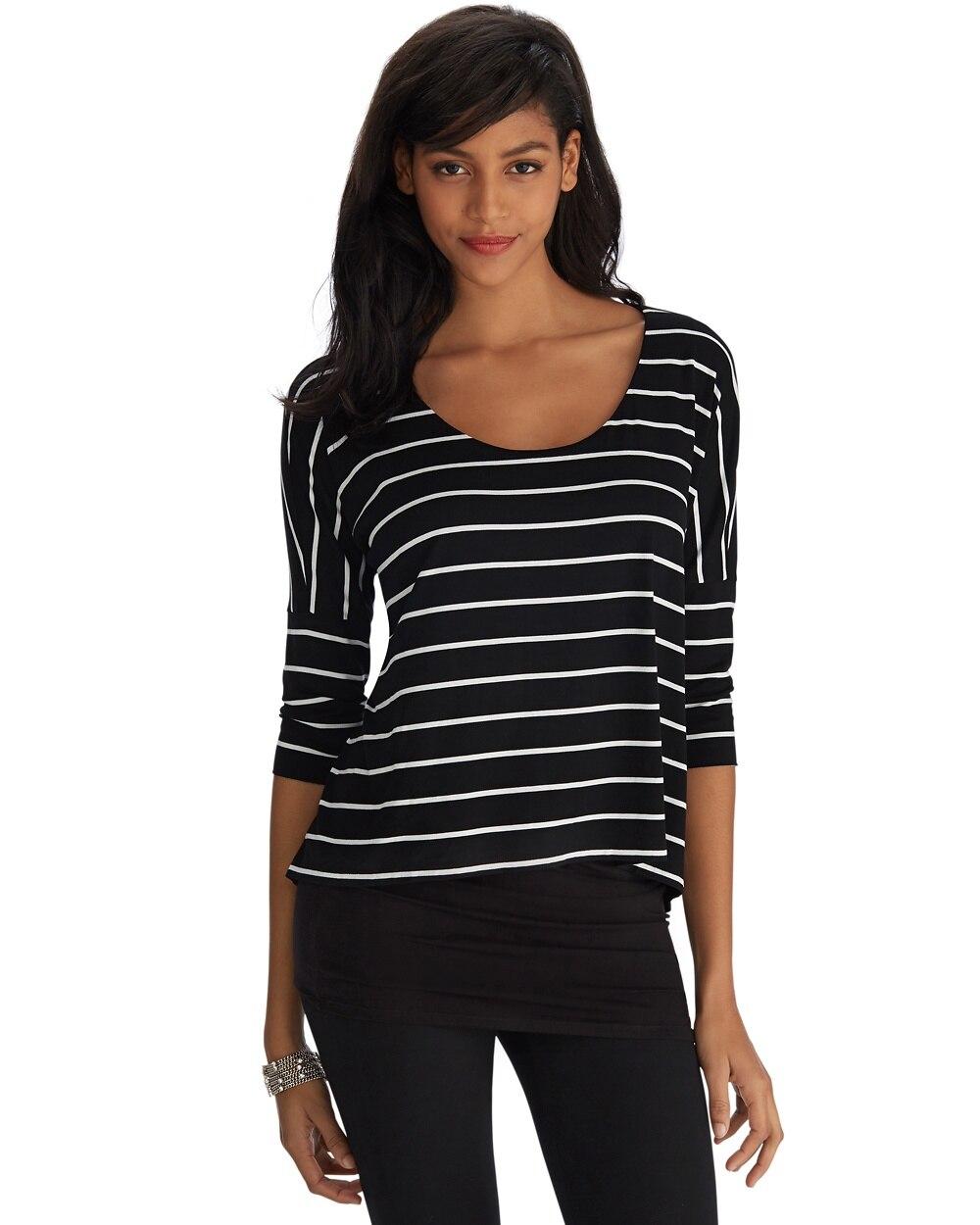 37e5f4d0757 3/4 Sleeve Stripe Double Tunic - White House Black Market