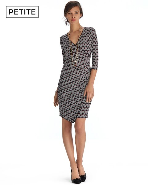 Petite 3/4 Sleeve Print Wrap Dress - White House Black Market