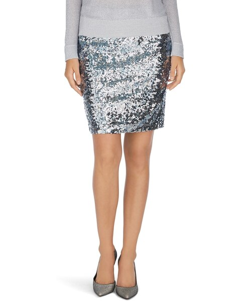 Silver Sequin Mini Skirt - White House Black Market