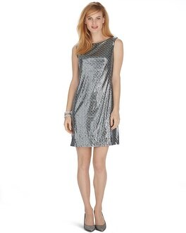 Sleeveless Mixed Sequin Shift Dress