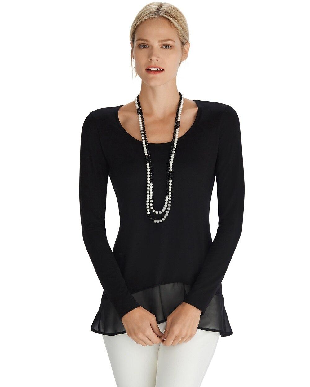 5328af9a1d3d Long Sleeve Ruffle Hem Black High-Low Top - White House Black Market