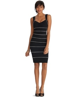 Sleeveless Black and White Instantly Slimming Dress
