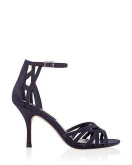 Navy Strappy Satin Heels