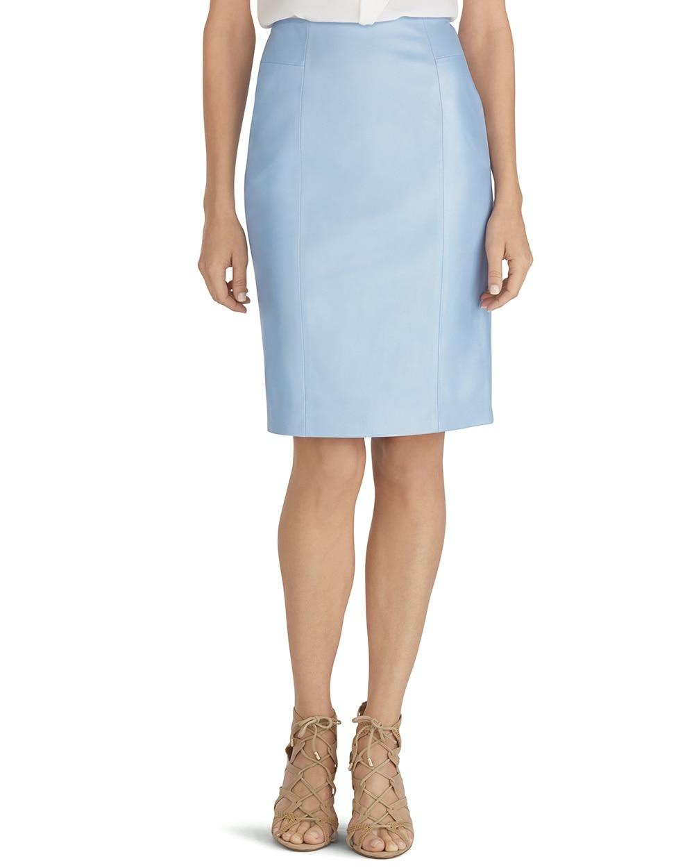 blue leather pencil skirt whbm