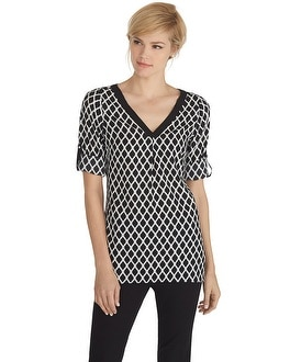 Tab Sleeve Black and White High-Low Tunic
