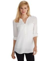 Long Sleeve White Henley Shirt