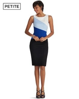 Petite Sleeveless Colorblock Diagonal Sheath Dress