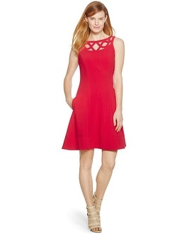 Sleeveless Red Fit & Flare Dress