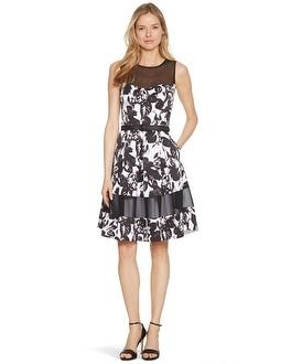 Sleeveless Black and White Floral Fit and Flare Dress