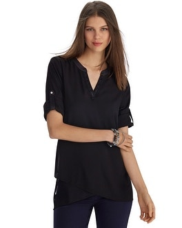Long Sleeve Asymmetrical Black Henley Tunic