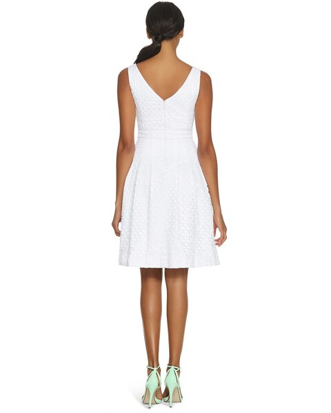 36785d4394fd White Textured Fit   Flare Dress - White House Black Market