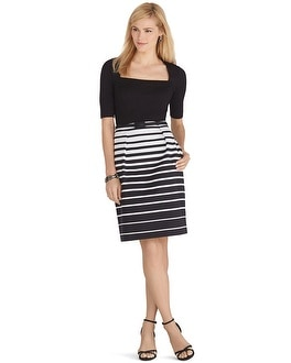 Elbow Sleeve Striped Skirt Dress
