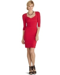 3/4 Sleeve Instantly Slimming Red Dress