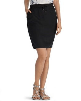 Twill Casual Black Skirt
