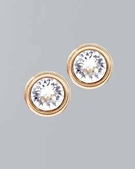 Gold Stud Earrings with Crystals from Swarovski
