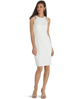 Sleeveless Mesh Iconic White Sheath Dress