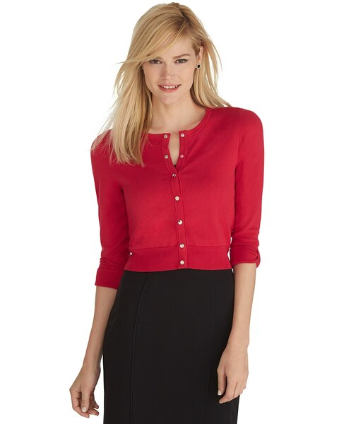 Red Cropped Bow Sleeve Cardigan - Red Cropped Bow Sleeve Cardigan - WHBM