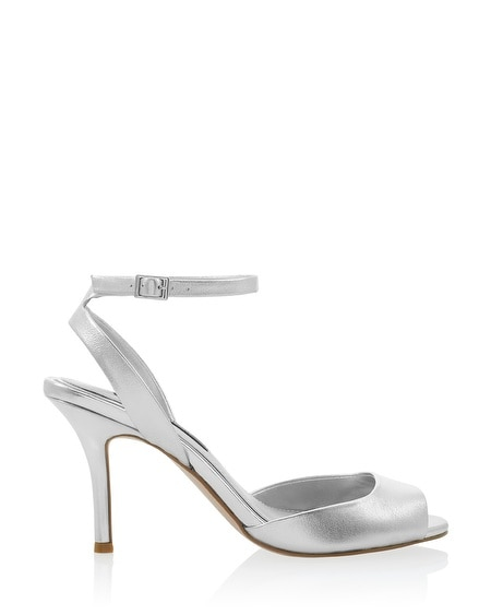 silver ankle strap mid heels white house black market