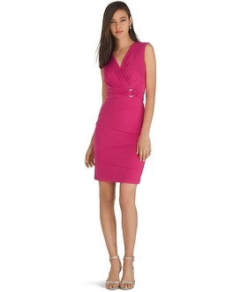 Sleeveless V-Neck Surplice Instantly Slimming Dress